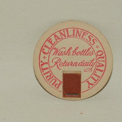 Purity Cleanliness Quality Vintage Milk Bottle Cap