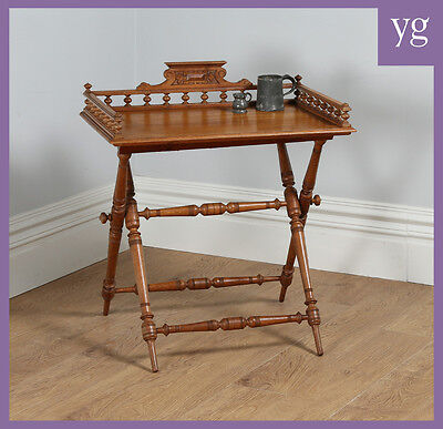 Antique Edwardian Oak Butlers Drinks Gallery Serving Tray Side Table & Stand
