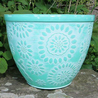 Stone Lite Chengdu Round Planter, Colour: Green/White  garden patio flower pot