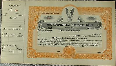 Stock certificate Commercial National Bank, Durant Oklahoma from 1920's blank