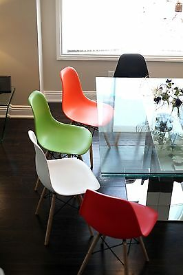Set of Four (4) Black - Eames Style Wood Legs plastic Eiffel Dining Room Chairs