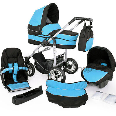 Pram 3in1  Car Seat  Pram  Stroller +Buggy Travel System SWIVEL WHEELS