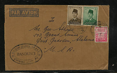 Indonesia   cover to  US   3  stamps        KL0111
