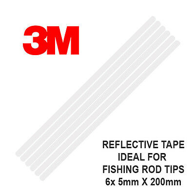 3M Scotchlite Reflective Rod Tip Tape, 6 Strips 5mm x 200mm - Fishing UK (White)