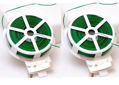 Pack of 2 Plastic Coated Green Wired Garden Wire Tie With Push To Cut Feature