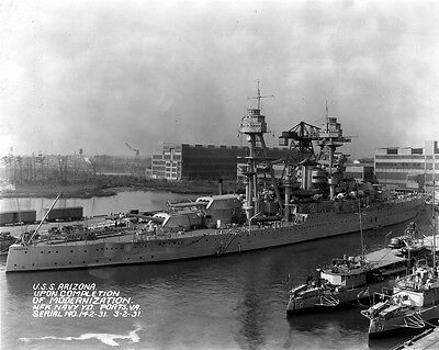 New 8x10 Photo: Starboard View of USS ARIZONA after Modernization, Virginia 1931