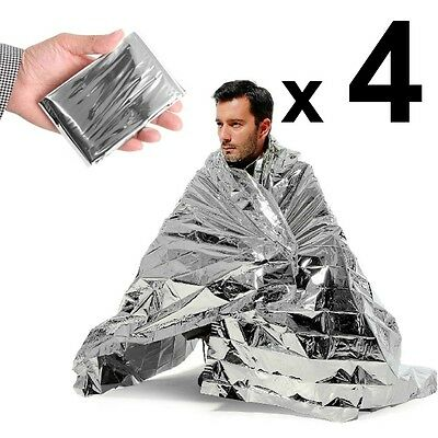 4 x Space Blankets LARGE Thermal Thermo Emergency Survival Camping First Aid OZ