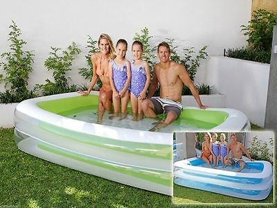 Large deep Pool Rectangle INFLATABLE green or blue 262cm x 175cm x 51cm