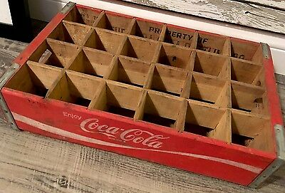 #214 Vintage 1976 Coca Cola Coke Wood Soda Pop Crate 24 Dividers Charleston SC