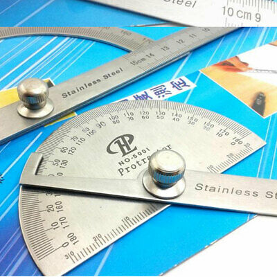 Multifunction Round Head 180° Protractor Angle Finder 100mm Arm Ruler Measure