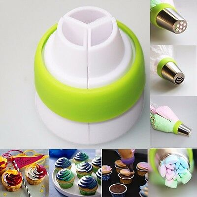 3 Color Cake Decorating Tools Icing Piping Cream Pastry Bag Nozzle Converter YU