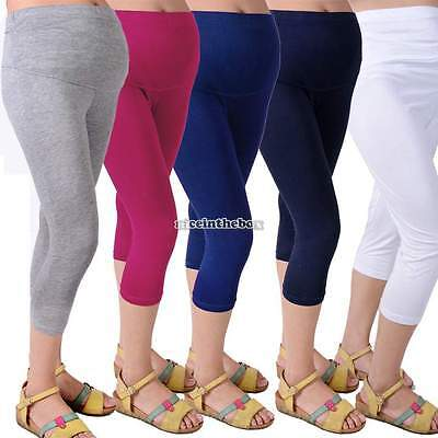 Casual Candy Color Comfort Maternity Cotton Leggings Pant 3/4 Length Cropped