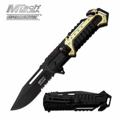 SPRING-ASSISTED FOLDING POCKET KNIFE Mtech Green Black LED Light Serrated EDC