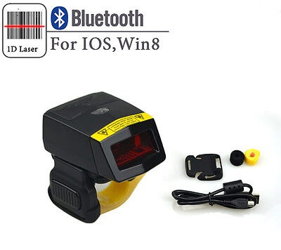 1D Finger Barcode Scanner Bluetooth Wireless Bar code Reader for IOS Android