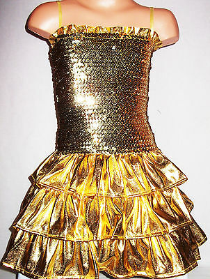 GIRLS GOLD GLAMOROUS SPARKLY GLITZY SEQUIN RUFFLE DISCO DANCE PARTY DRESS age3-4