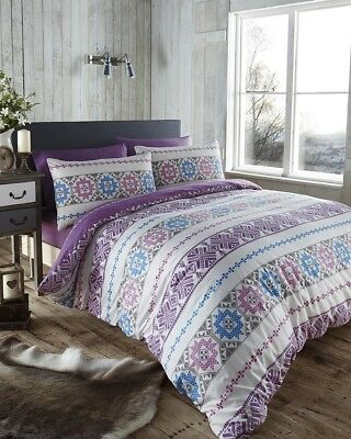 Scandi Plum Reversible Duvet Quilt Cover Bedding + Pillow Cases Bed Linen Set
