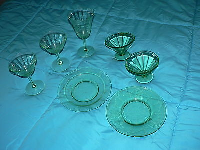 Vintage Green Glass Plate Lot of 7 Beautifully Etched Pattern Art Deco
