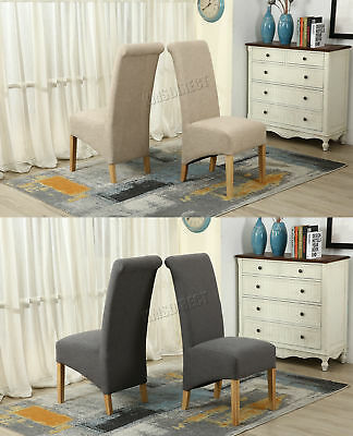 WestWood Linen Fabric Dining Chairs Roll Top Scroll High Back Springed Seat F01