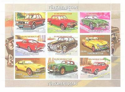 Classic Vintage Car Automobile Turkmenistan 2000 Mnh Stamp Sheetlet