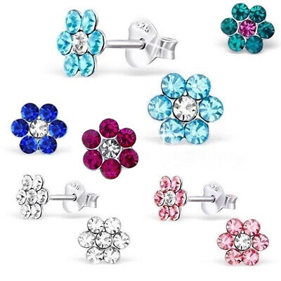 925 Sterling Silver Daisy Flower Crystal Mini Stud Earrings Studs Girls Women