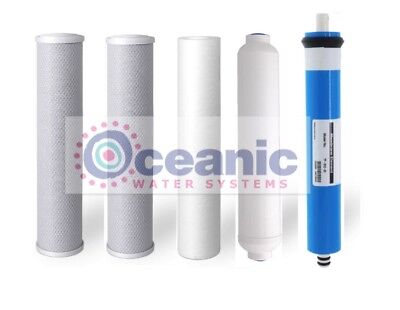 5 Replacement Reverse Osmosis Drinking Water Filters + 75 GPD Membrane