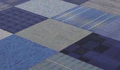 """SHADES OF BLUE COLOR FAMILY 24"""" x 24"""" CARPET TILES"""