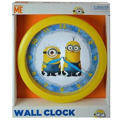 "Minions Wall Clock Despicable Me 10"" Round Kevin Carl New Battery Operated AA"