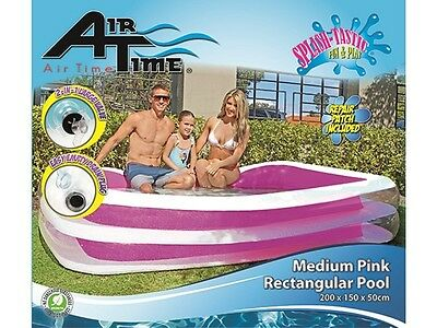 Large Pool Rectangle INFLATABLE transparent  grey or pink 200c x 150c x 50cm