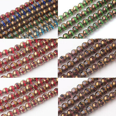 20/40Pcs  Rondelle Faceted Czech Glass Crystal Loose Spacer Beads Findings 8mm