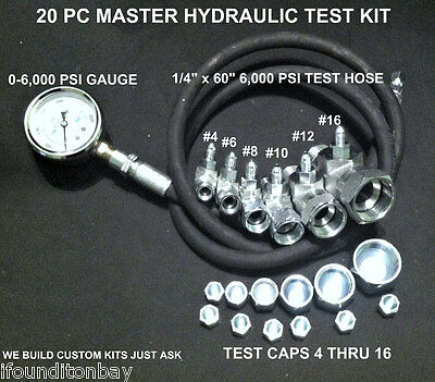 Hydraulic JIC Pressure Test Kit 0-6,000 PSI Excavator Tractor Forklift Tester