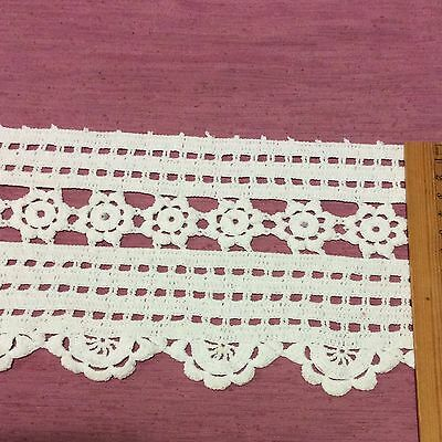 Vintage White Crochet Lace Trim Wide Edging Doll Baby Craft Heirloom Sewing 1m