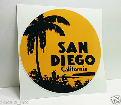 SAN DIEGO CALIFORNIA Vintage Style Travel Decal, Vinyl Sticker, Luggage Label 4""