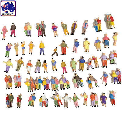 50pcs Scale 1:87 Painted People Person Model Train Figurine Layout GMOD 02181x50