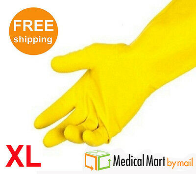 X-Large Size Household Dish-washing Yellow Flock Lined Gloves 12 Pairs