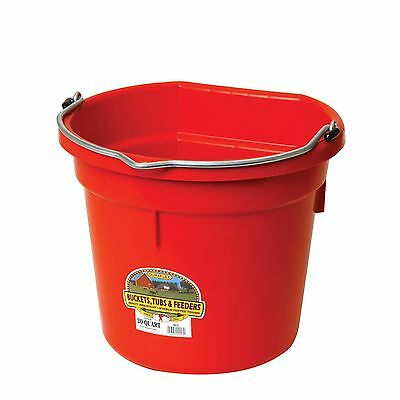 Red 5 Gallon (20 Qt) Professional Farm Grade Flat Back Bucket Pail Horse Cattle