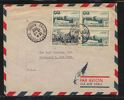 Morocco  260, C42 (3)  on  cover to  US    1952     KL0101