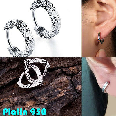 Platinum studs Pt950 Earrings Hoops With Clasps piercing Single