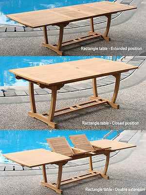 "Grade-A Teak Wood Mas 117"" Double Extension Rectangle Dining Table Outdoor Patio"