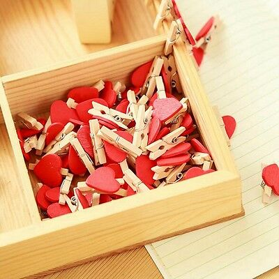 50/100pcs Mini Hearts Wooden Pegs Photo Clips Wedding Party Craft Decor Pretty
