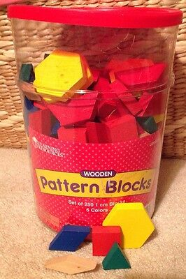 Learning Resources Wooden Pattern Blocks Set of 250 Math Manipulatives School