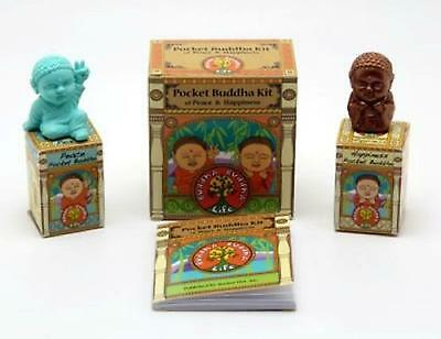 Pocket Buddha Kit of Peace & Happiness 2 Buddha figurines & 40-pg book of Quotes