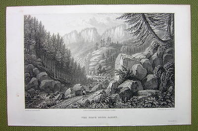 GERMANY Saxony Tiefer Grund Rocks Valley - 1820s Copper Engraving Cpt BATTY