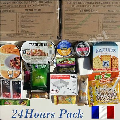 Food Ration MILITARY ARMY Daily Pack FRANCE 24H MRE Emergency Set Combat