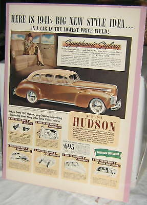 """1941 Hudson Sedan Ad, 14"""" high by 10"""" wide, with light cardboard and srink wrap"""