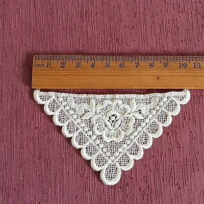 Lace Applique Motif Trim White Vintage Style Flower Triangle Heirloom Sewing