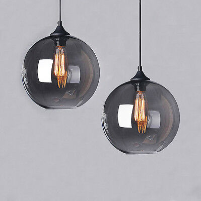 Industrial Modern Bar Grey Glass Cafe Loft Fitting Pendant Light Ceiling Lamp