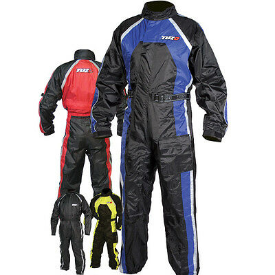 Tuzo Waterproof Motorcycle One Piece Rain Suit Black Blue Overall S Small