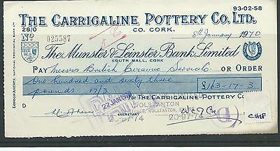 wbc. - CHEQUE - USED - CH18 -1970's - MUNSTER & LEINSTER BANK CORK - CARRIGALINE