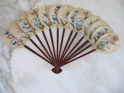 Antique Chinese Paper Hand Painted Signed Paddle Fan Qing Dynasty