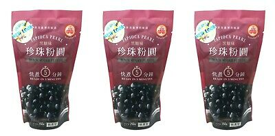 3 Packs of Wufuyuan Black Tapioca Pearl 250g for Bubble Tea Drink Boba Milk tea